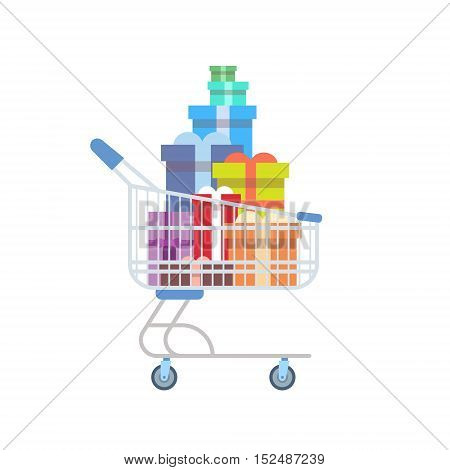 Shop Cart With Present Gift Boxes Holiday Shopping Marketing Sale Flat Vector Illustration