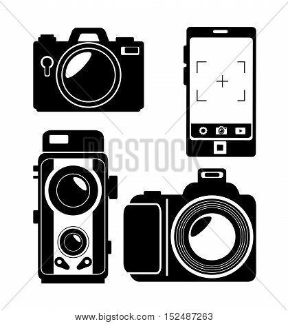 evolution photographic camera design, vector illustration graphic