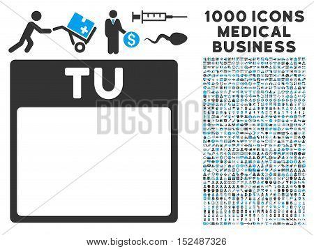 Blue And Gray Tuesday Calendar Page vector icon with 1000 medical business pictograms. Set style is flat bicolor symbols, blue and gray colors, white background.