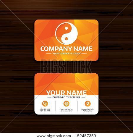 Business or visiting card template. Ying yang sign icon. Harmony and balance symbol. Phone, globe and pointer icons. Vector