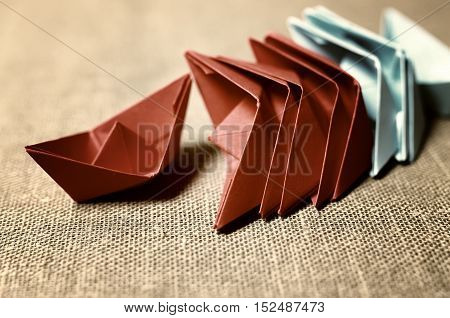 small colored paper folded boat origami method