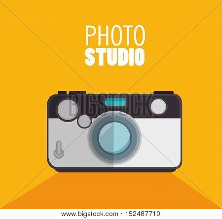 photo studio camera with shadow and yellow background design, vector illustration graphic