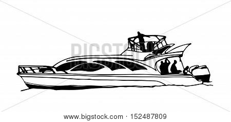 Hand drawn sketch of a fast motorboat or yacht