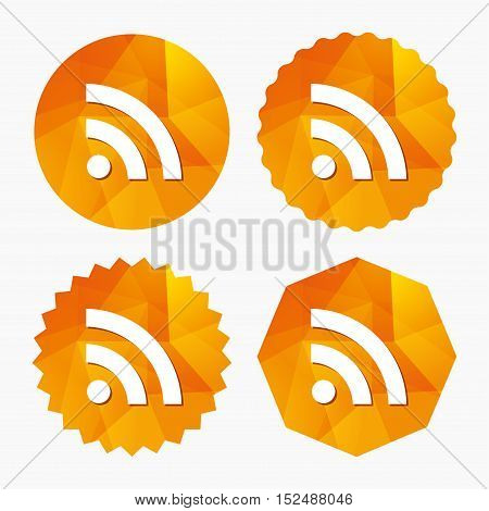 RSS sign icon. RSS feed symbol. Triangular low poly buttons with flat icon. Vector