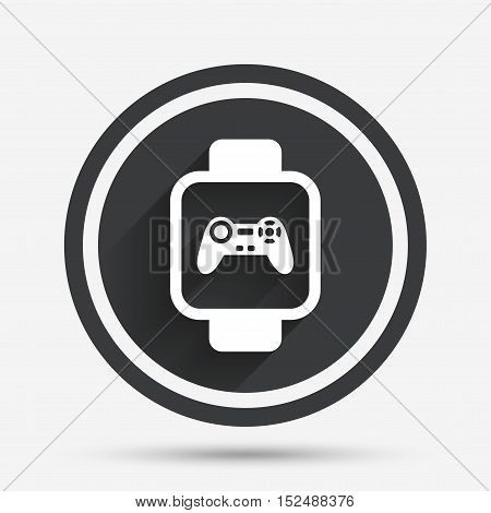 Smart watch sign icon. Wrist digital watch. Game joystick entertainment symbol. Circle flat button with shadow and border. Vector