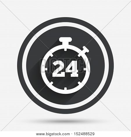 24 hours Timer sign icon. Stopwatch symbol. Customer support service. Circle flat button with shadow and border. Vector