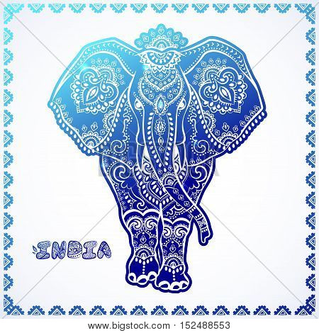 Vintage graphic vector Indian lotus ethnic elephant. African tribal ornament. Can be used for a coloring book, textile, prints, phone case, greeting card, business card in blue