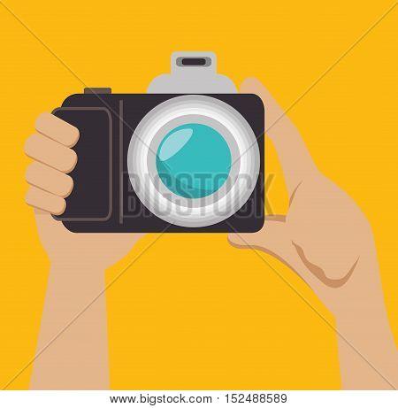 hand photographer photocamera icon design, vector illustration graphic