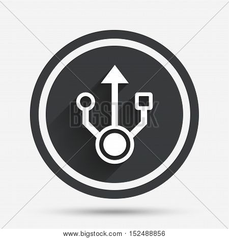 Usb sign icon. Usb flash drive symbol. Circle flat button with shadow and border. Vector