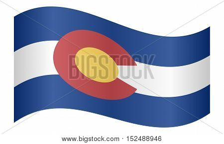 Colorado official flag symbol. American patriotic element. USA banner. United States of America background. Flag of the US state of Colorado waving on white background vector
