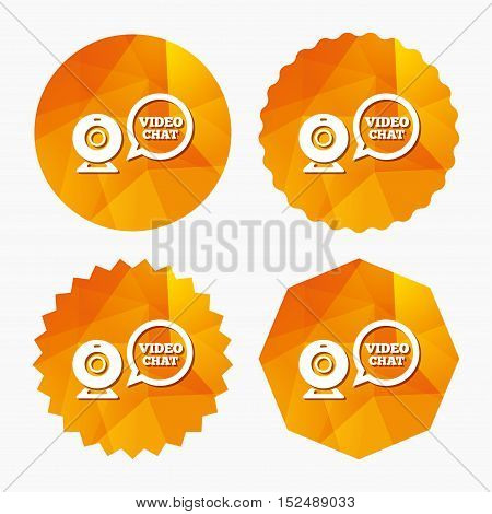 Video chat sign icon. Webcam video speech bubble symbol. Website webcam talk. Triangular low poly buttons with flat icon. Vector