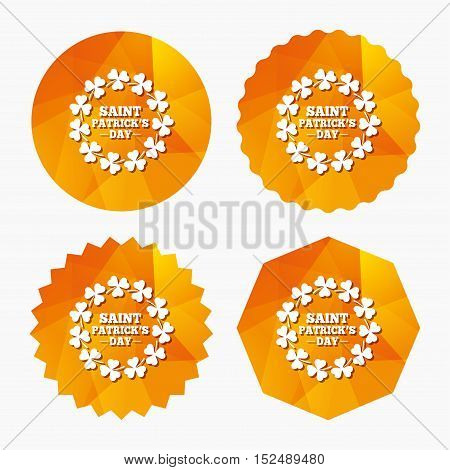 Wreath of Clovers with three leaves sign icon. Saint Patrick trefoil shamrock symbol. Triangular low poly buttons with flat icon. Vector