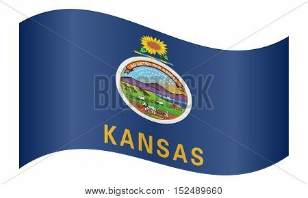 Kansan official flag symbol. American patriotic element. USA banner. United States of America background. Flag of the US state of Kansas waving on white background vector