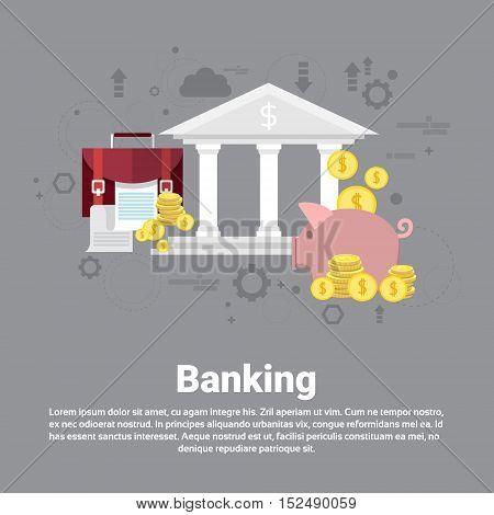 Financial Banking Business Web Banner Flat Vector Illustration