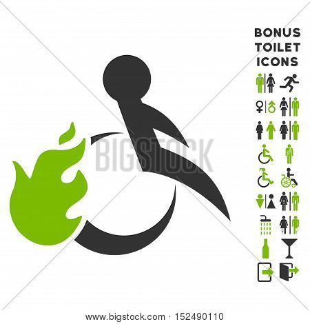 Fired Patient icon and bonus man and female restroom symbols. Vector illustration style is flat iconic bicolor symbols, eco green and gray colors, white background.