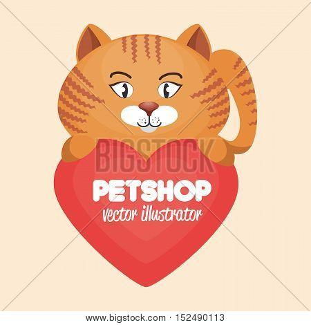 cute cat and heart pet shop concept icon design vector illustration eps 10