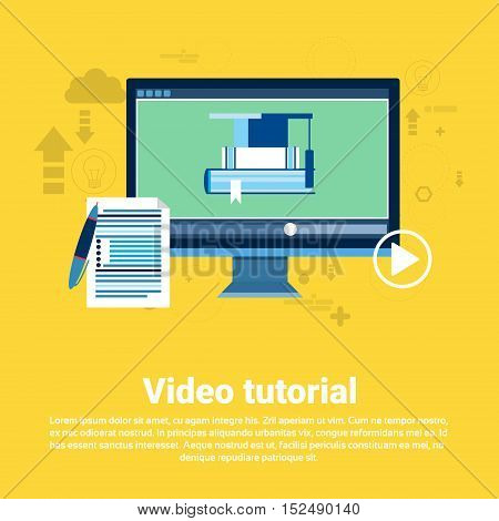 Video Tutorial Editor Concept Modern Technology Web Banner Flat Vector Illustration