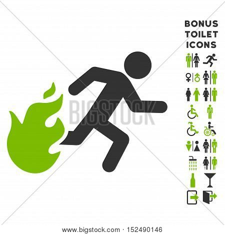 Fired Running Man icon and bonus man and lady lavatory symbols. Vector illustration style is flat iconic bicolor symbols, eco green and gray colors, white background.
