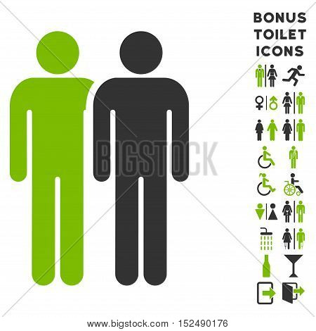 Gay Couple icon and bonus male and lady restroom symbols. Vector illustration style is flat iconic bicolor symbols, eco green and gray colors, white background.