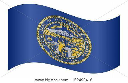 Nebraskan official flag symbol. American patriotic element. USA banner. United States of America background. Flag of the US state of Nebraska waving on white background vector