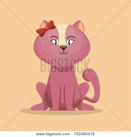cute character pink kitty with bow icon vector illustration