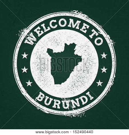 White Chalk Texture Retro Stamp With Republic Of Burundi Map On A Green Blackboard. Grunge Rubber Se