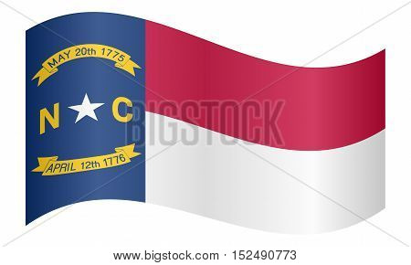North Carolinian official flag symbol. American patriotic element. USA banner. United States of America background. Flag of the US state of North Carolina waving on white background vector