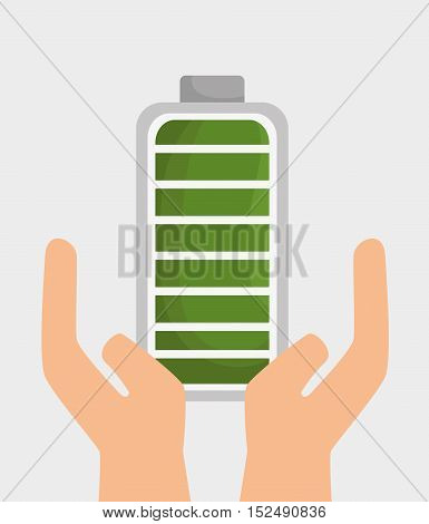 hand holds battery ecology icon graphic design vector illustration eps 10