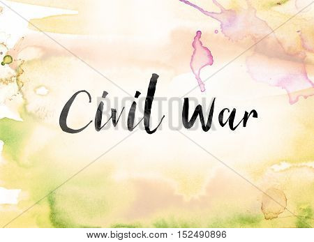 Civil War Colorful Watercolor And Ink Word Art