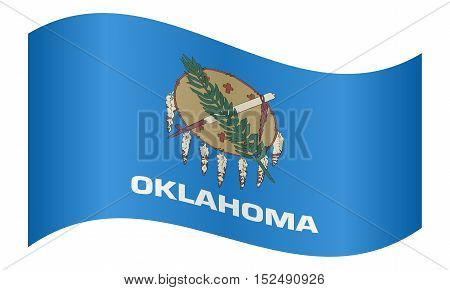 Oklahoman official flag symbol. American patriotic element. USA banner. United States of America background. Flag of the US state of Oklahoma waving on white background vector