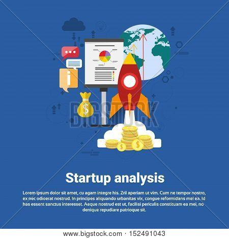 Startup Analysis Financial Business Web Banner Flat Vector Illustration