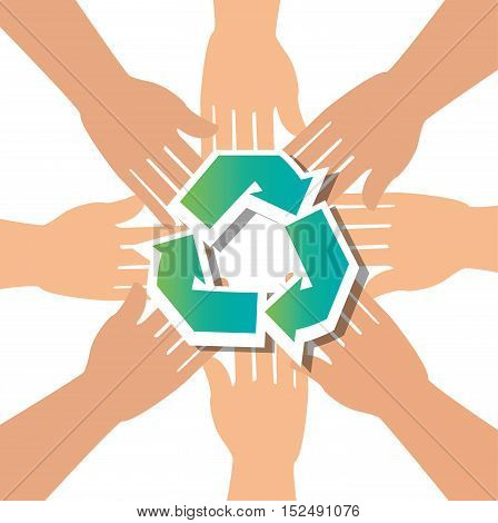 recycle concept hand unity group vector illustration