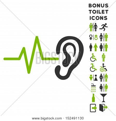 Listen Ear icon and bonus gentleman and woman toilet symbols. Vector illustration style is flat iconic bicolor symbols, eco green and gray colors, white background.