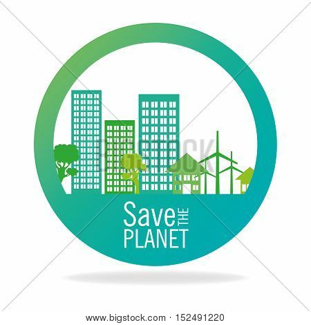 stamp save the planet city energy eco icon graphic vector illustration eps 10