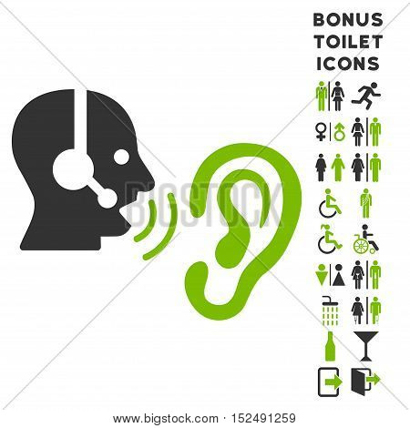 Listen Operator icon and bonus man and woman lavatory symbols. Vector illustration style is flat iconic bicolor symbols, eco green and gray colors, white background.
