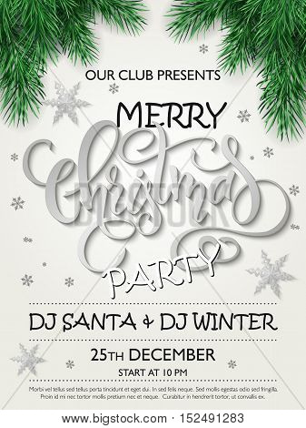 Vector merry christmas party poster with christmas fir-tree branches, silver stars and lettering greetings word - christmas, and snowflakes.