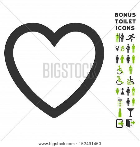 Love Heart icon and bonus gentleman and woman toilet symbols. Vector illustration style is flat iconic bicolor symbols, eco green and gray colors, white background.