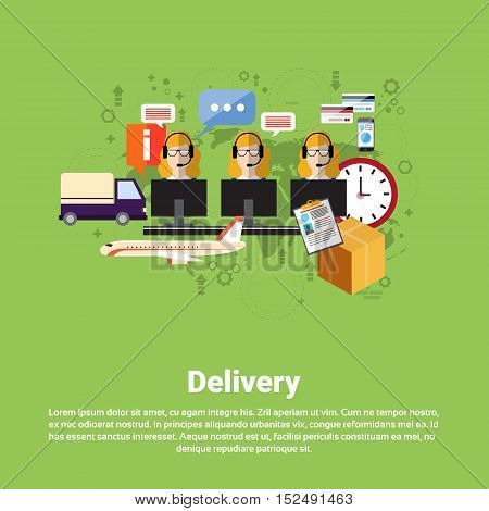 Delivery Service Center Logistic Shipping Web Banner Flat Vector Illustration