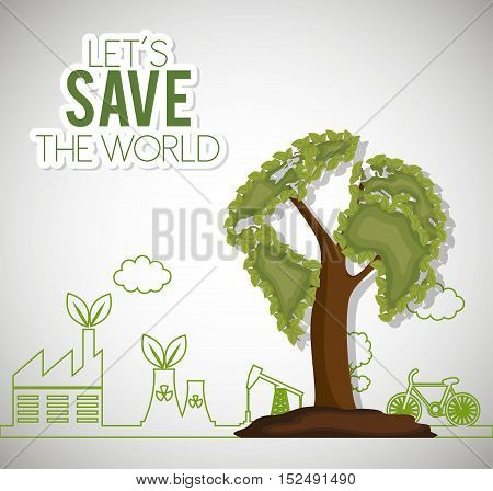 lets save the world ecology factory house bike vector illustration eps 10