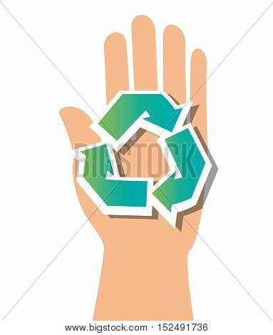 symbol recycle and hand icon vector illustration eps 10