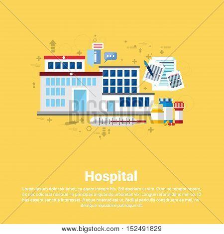 Hospital Medical Application Health Care Medicine Online Web Banner Flat Vector Illustration