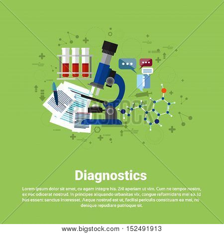 Diagnostics Medical Application Health Care Medicine Online Web Banner Flat Vector Illustration