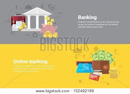 Financial Online Banking Business Web Banner Flat Vector Illustration