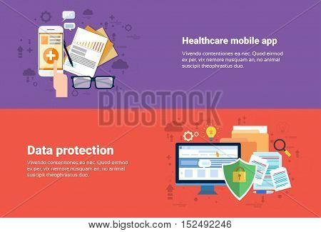 Data Protection, Medical Application Health Care Medicine Online Web Banner Flat Vector Illustration