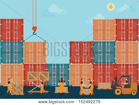 Containers with crain and Workers working to Loading boxesTransportation logistics flat design conceptual vector illustration.