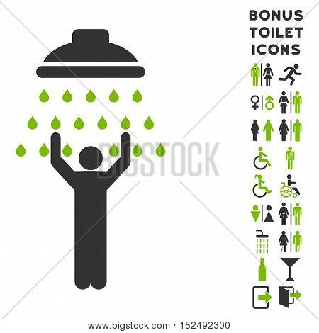 Man under Shower icon and bonus man and woman WC symbols. Vector illustration style is flat iconic bicolor symbols, eco green and gray colors, white background.