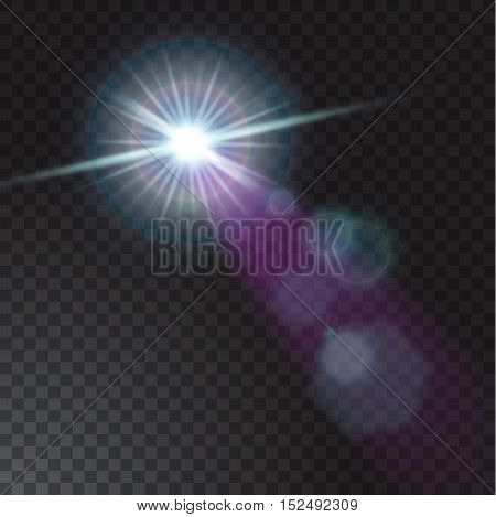 Vector illustration of realistic beam lights on transparent background.