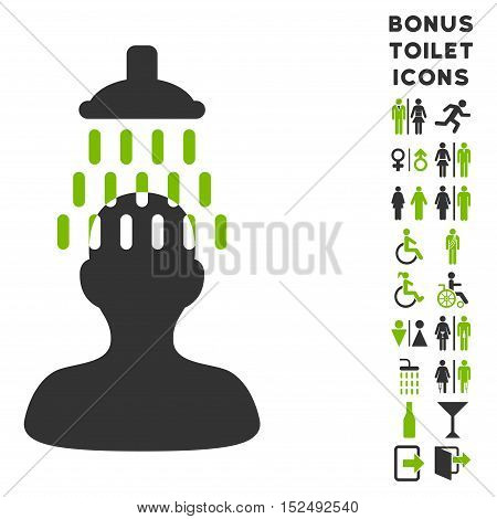 Man under Shower icon and bonus man and woman restroom symbols. Vector illustration style is flat iconic bicolor symbols, eco green and gray colors, white background.