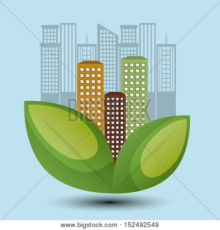 eco town design environment icon vector illustration eps 10