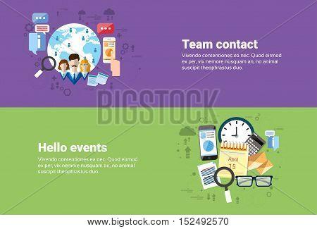 Teamwork Cooperation, Calendar Events Business Web Banner Flat Vector Illustration